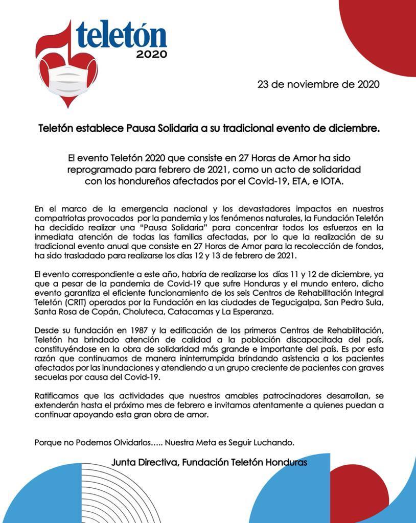 Teletón establece Pausa Solidaria a si tradicional evento de diciembre
