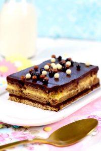 Receta: Tarta de galletas, flan y chocolate